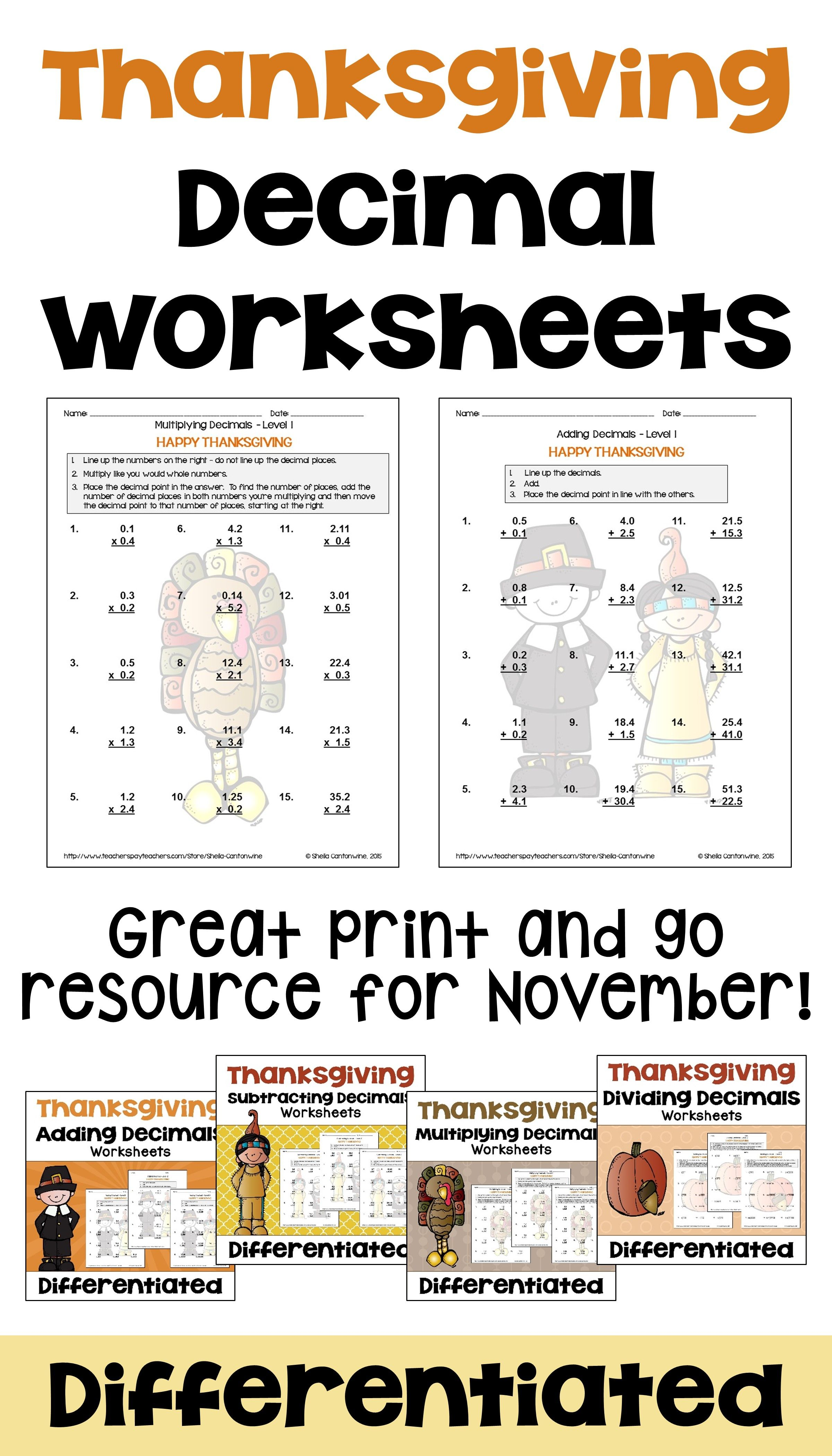 Thanksgiving Math Decimal Worksheet Bundle