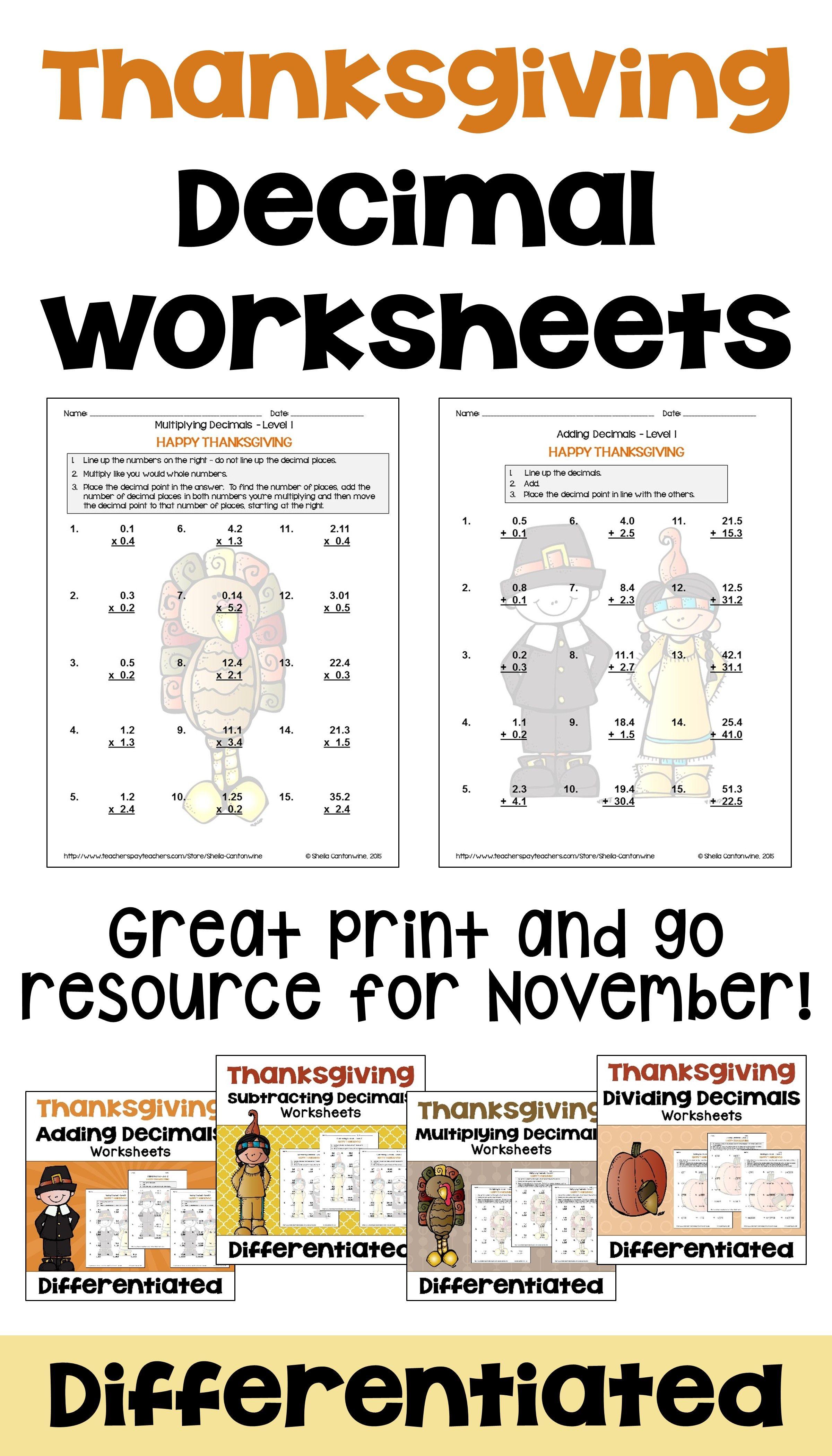 Thanksgiving Math Decimal Worksheet Bundle