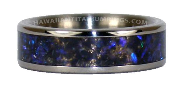 Anium Ring With Black Opal Inlay