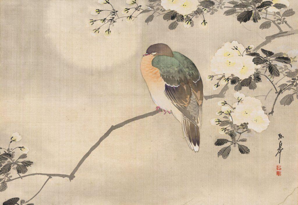 Oiseau Perche Sur Une Branche Aquarelle Japonaise Peinture
