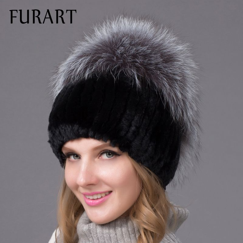 fa731ab56df87 Fashion Winter Warm Thick Earmuffs Women Knitted Hats Real Rex Rabbit Fur  Cap With Silver Fox