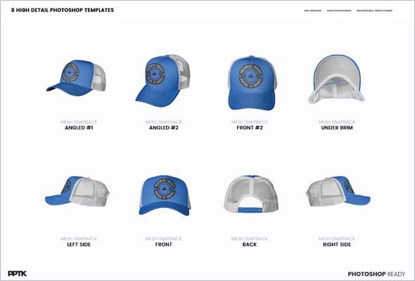 61e3052b128 High-quality Photoshop PSD files with the Editable template. Setting one  decoration color. Download this Trucker Hat mockup.