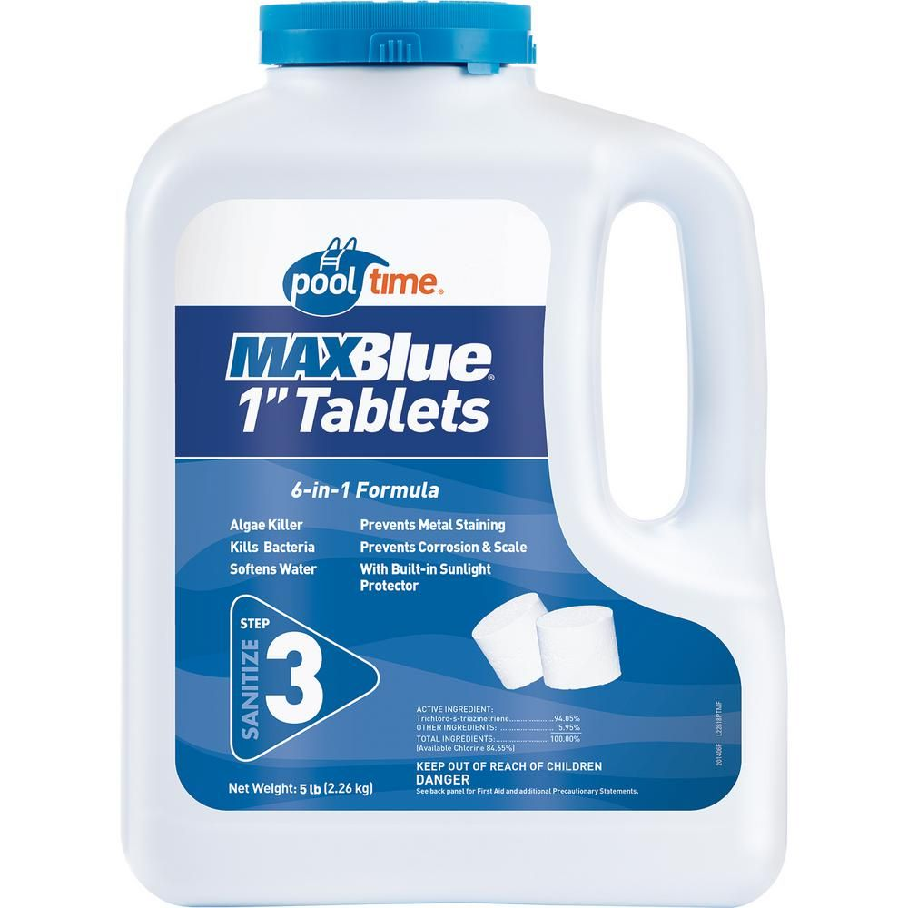 Pool Time Maxblue 5 Lb 1 In Tablets 22801ptm The Home Depot Swimming Pool Chlorine Pool Time Pool Chlorine