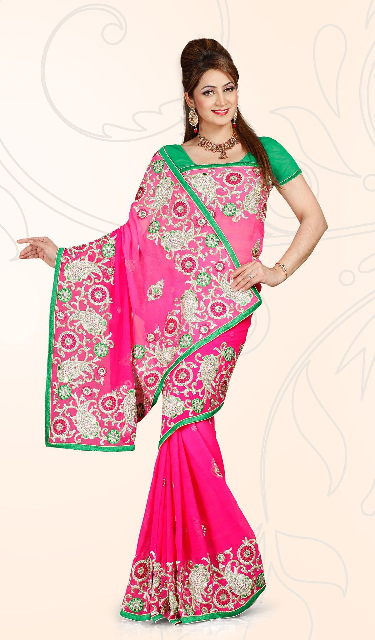Heavy Embroidered Pink Saree | Products | Pinterest | Pink saree and ...