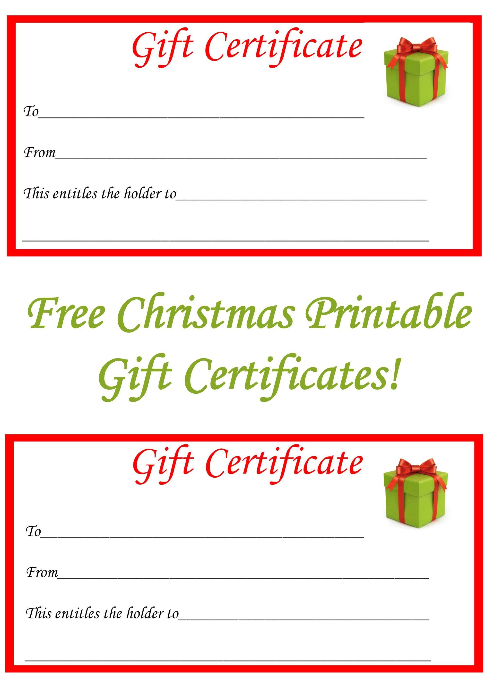 Free Christmas Printable Gift Certificates Christmas Gift