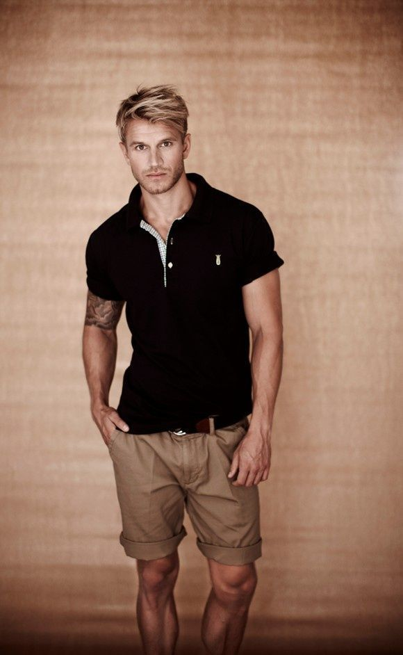 Men's Black Polo, Brown Shorts, Brown Leather Belt | Brown leather ...