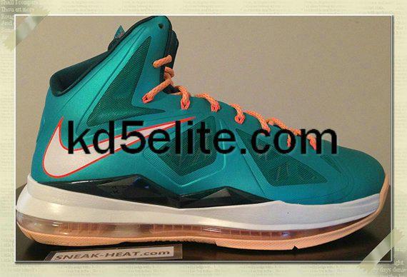 huge discount afe8b e0311 Nike Lebron 10 (X) Atomic Teal Sail Dark Atomic Teal Total Orange Melon  Tint 541100 302
