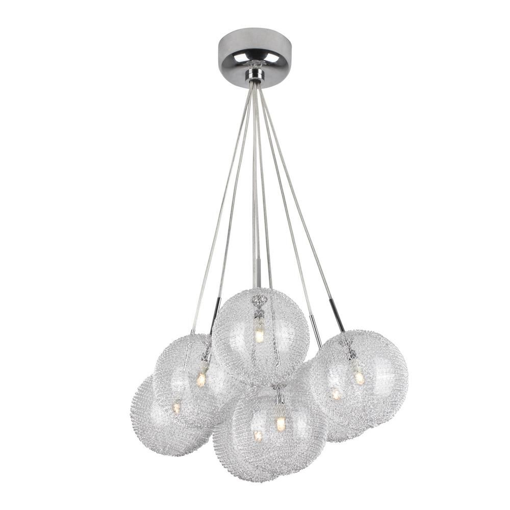 Bazz Lume Series 7 Light Chrome And Mesh Pendant Fixture With Seven Spheres P15025ch The Home