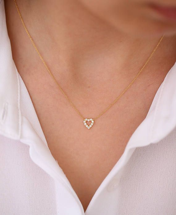 d1f2b2703d2d47 Tiny Diamond Heart Necklace / Mini Diamond Hear Pendant in 14k Gold / Mini  White Diamond Heart Necklace Micro Pave Setting .10ctw