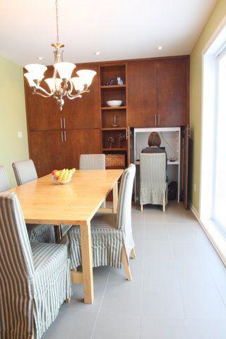 salle à manger, bureau dissimulé, rangement pleine hauteur Maison