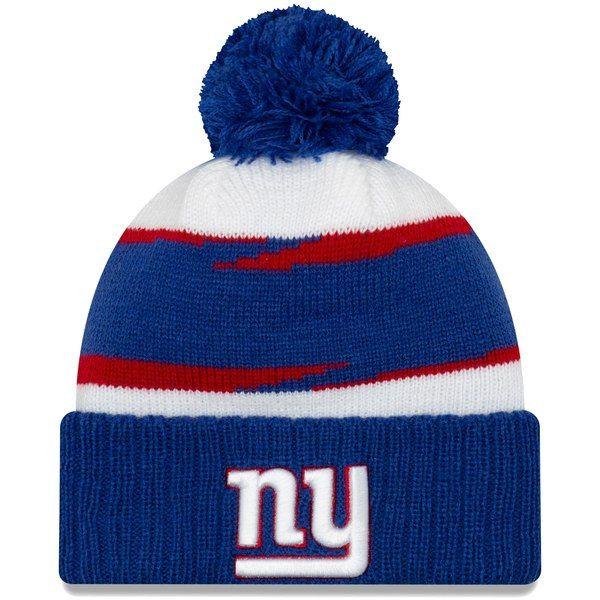 81861f2dd45d2 New York Giants New Era Thanksgiving Cuffed Pom Knit Hat White Royal   NewYorkGiants