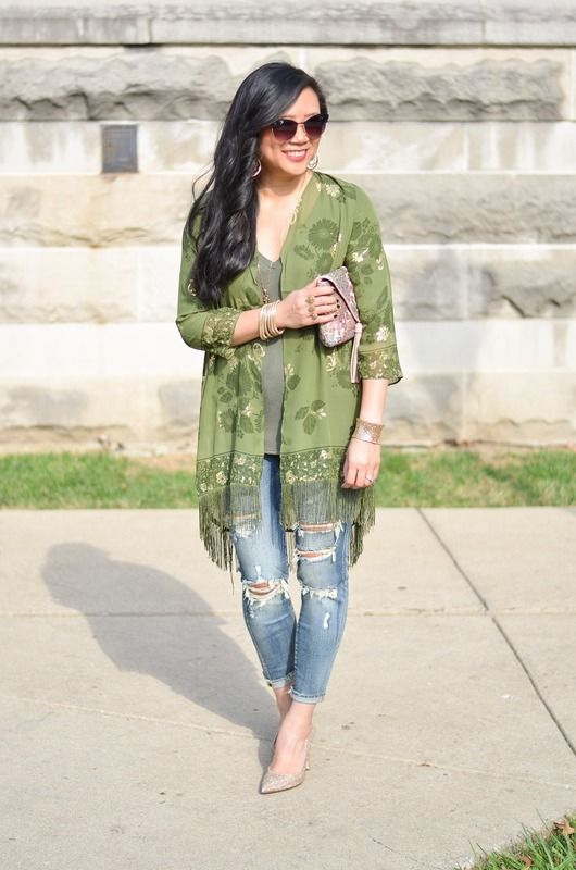Charming Charlie Foiled Floral Duster