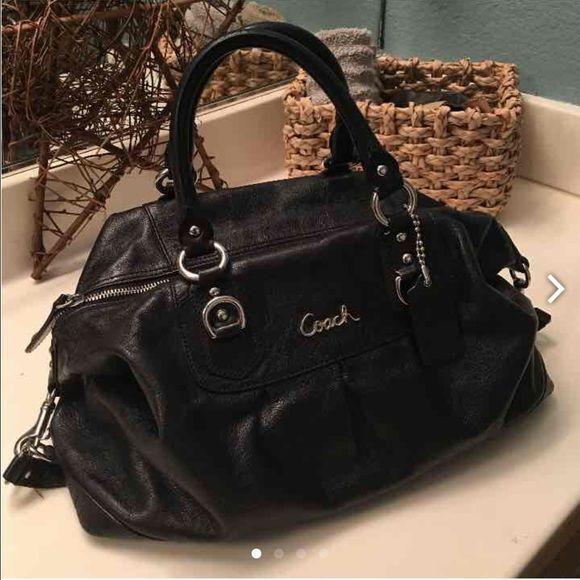 Black leather Coach bag Authentic Coach. Has a shoulder strap that buttons under the bag Coach Bags Shoulder Bags