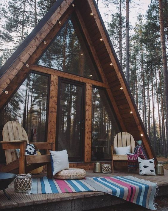 A-frame cabin with fireplace