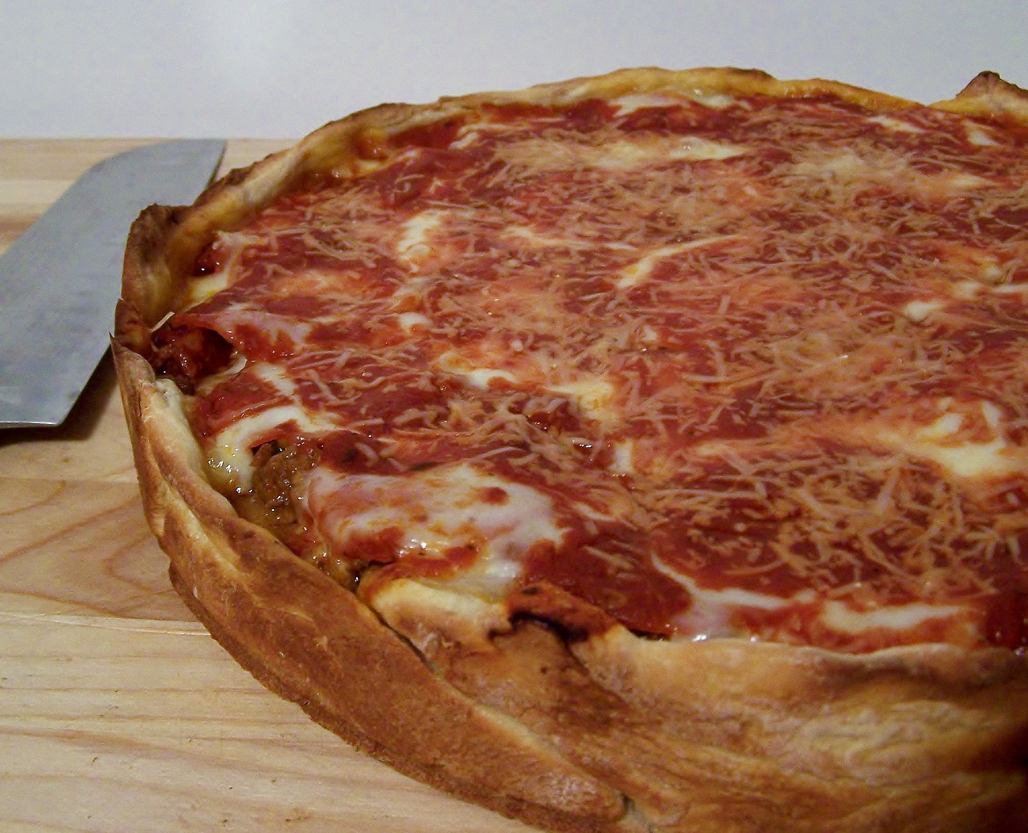 Chicago style many meat pizza pie chicago style pizza