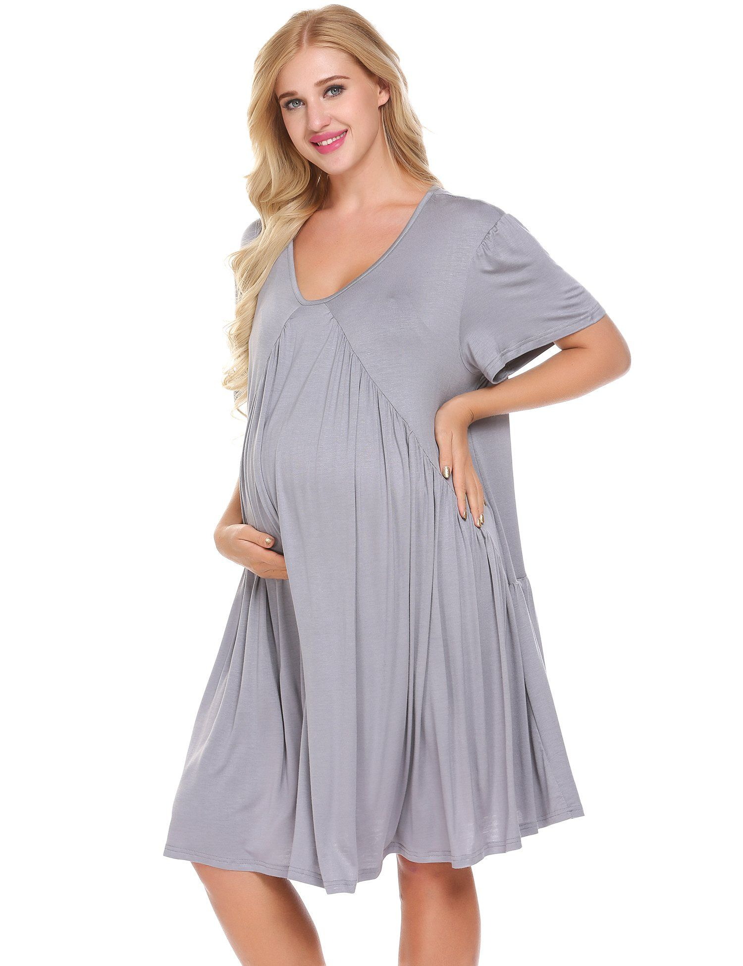 75f865ad0ef5 Maternity Fashion - modest maternity dresses   Lamore Womens VNeck  KneeLength 3 4 Sleeve Casual Party Elegant Maternity Dresses Pregnancy  Clothes    Read ...