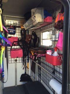 The Organized Barn And Trailer Horse Trailer Organization Horse Trailers Tack Room Organization