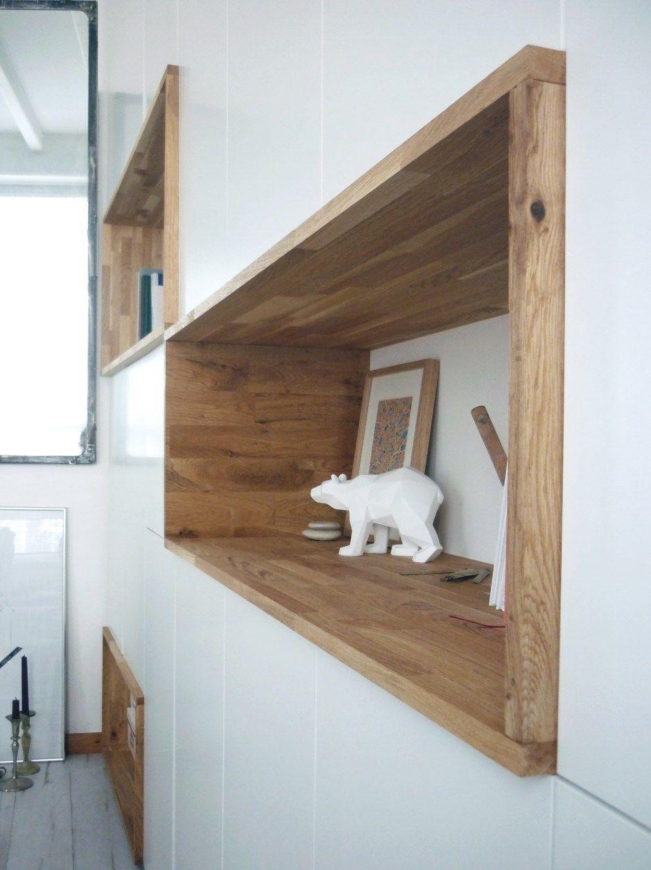 mur rangements blanc bois scandinave | bibliotheque salon ...