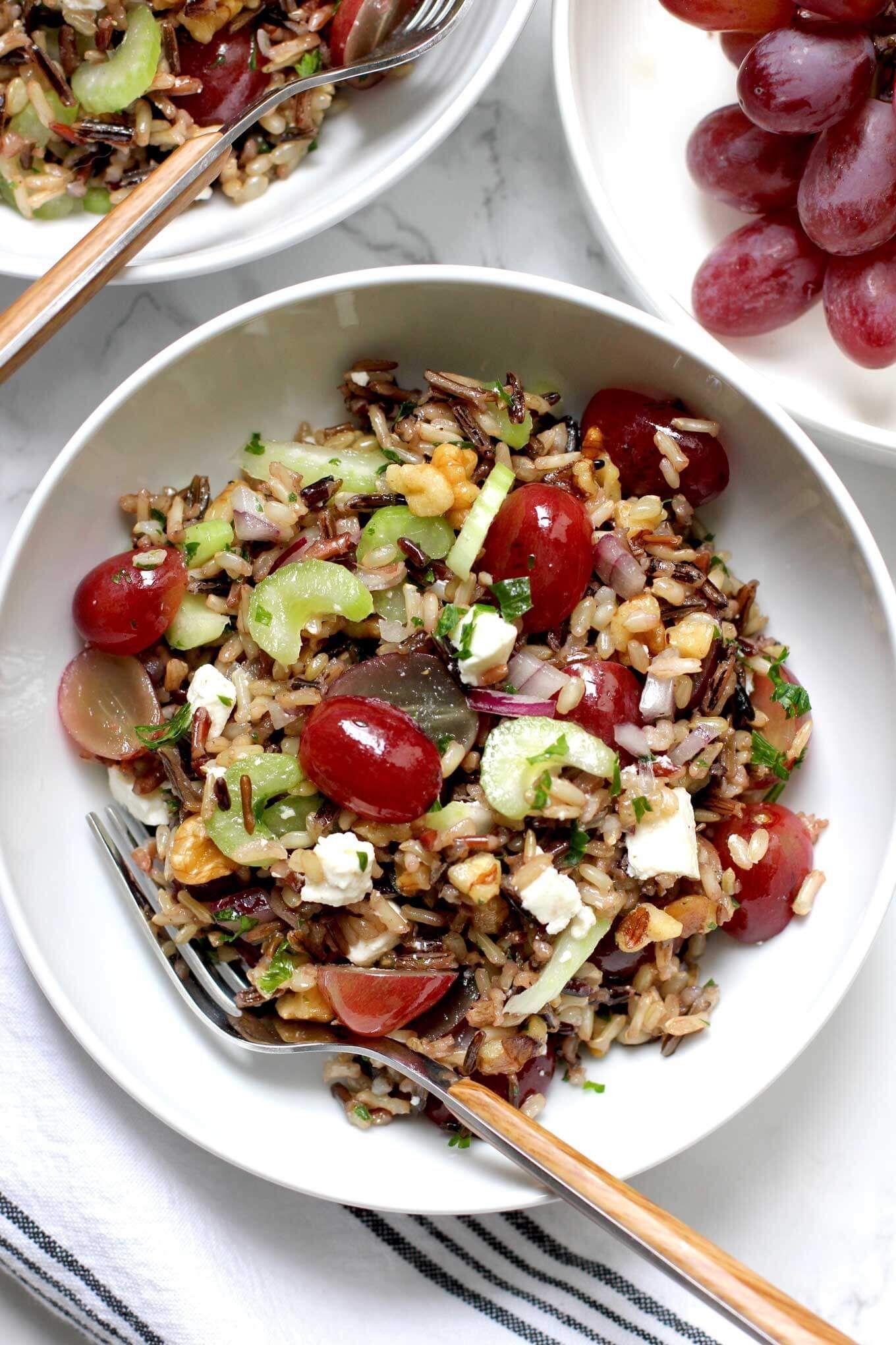 Wild Rice Salad with Grapes | Recipe | Wild rice salad ...