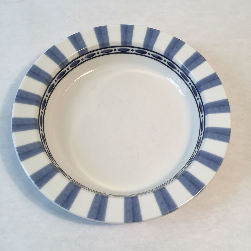 Dansk Bistro Cafe Parisian Blue Rimmed Soup Bowl 8-1/8\