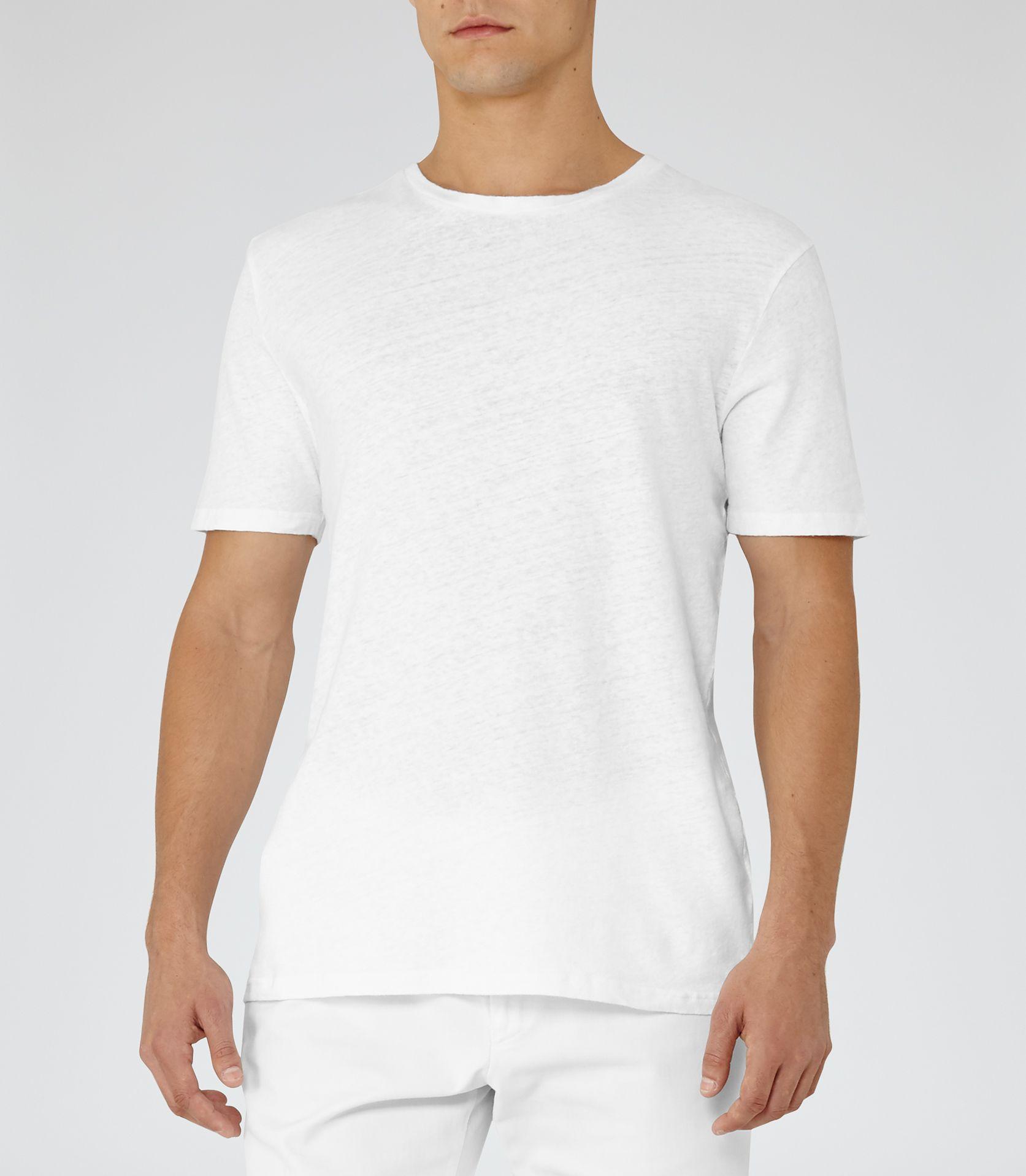 89d53e4e7ccef Mens White Linen Blend T-shirt - Reiss Festival