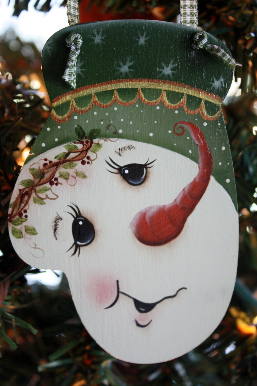 Hand Painted Wooden Snowman Mitten Ornament by TracysCrtns