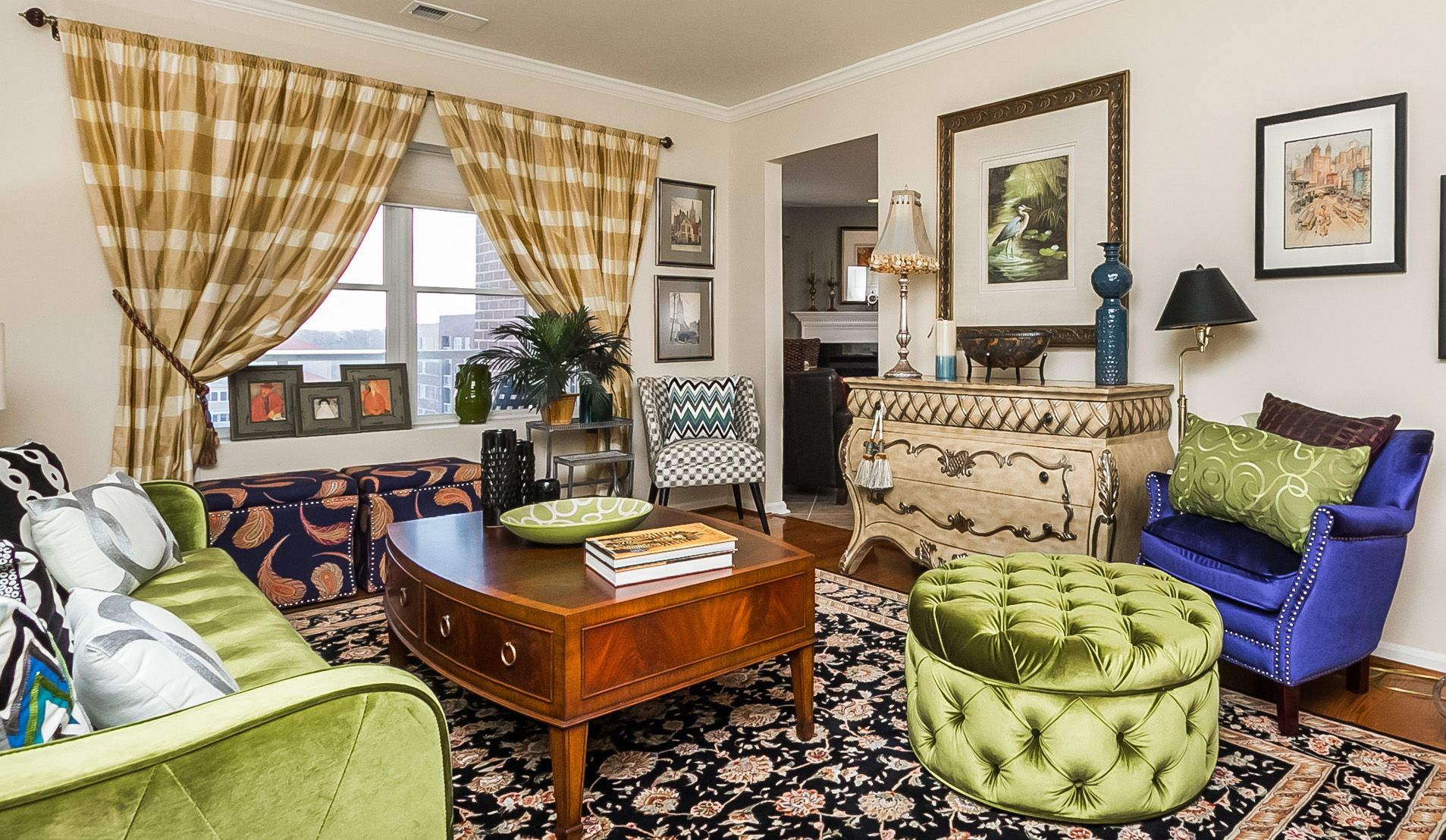 Patterns Plus A Pop Of Color Living Room In Mays
