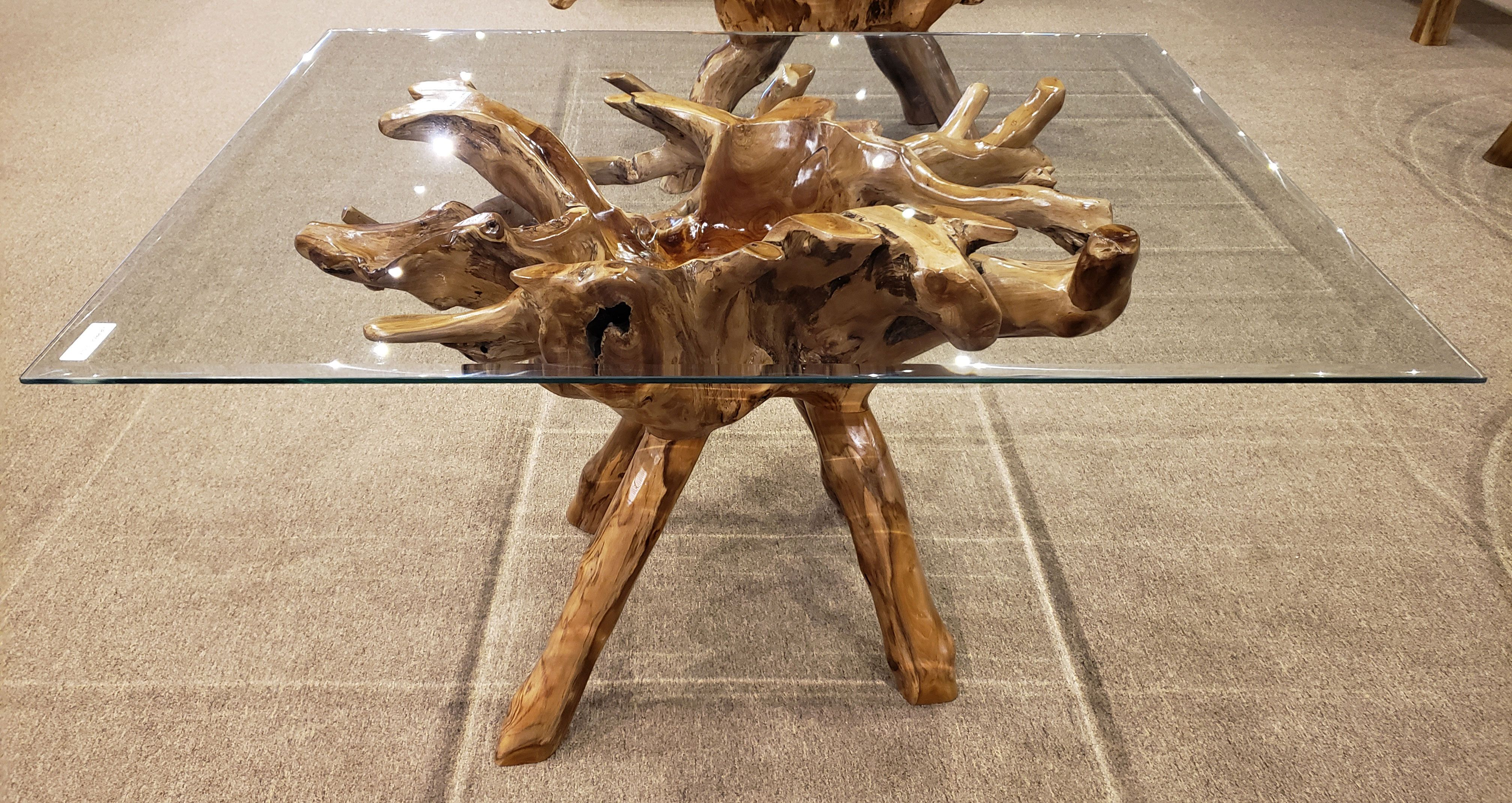 Teak Wood Root Dining Table Including A 55 X 43 Glass Top By