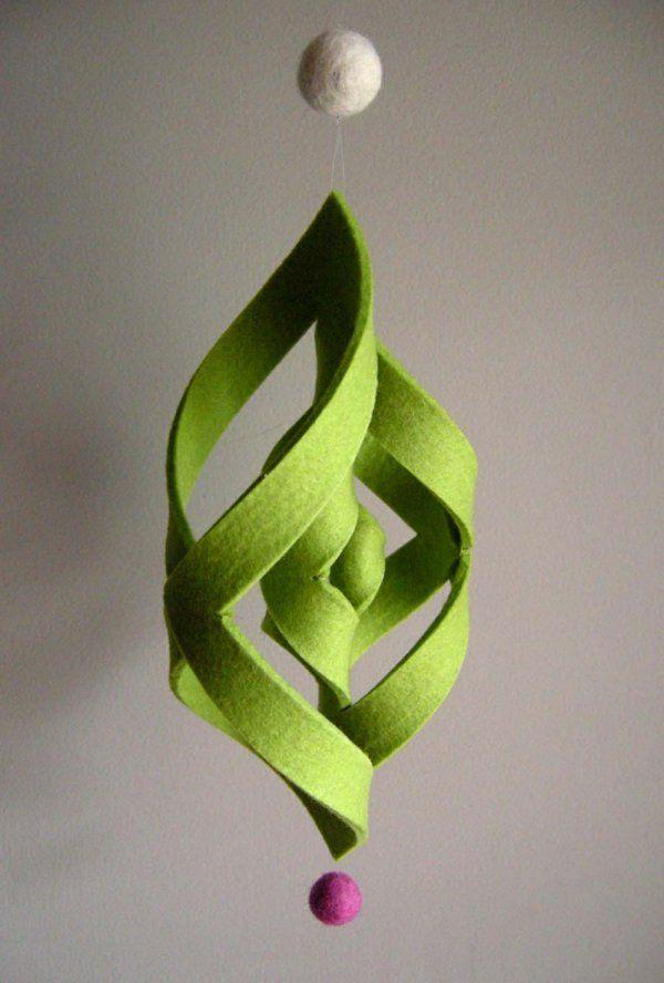 basteln grün christbaumschmuck holz papier filz | häkeln,
