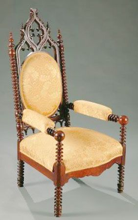 Antique Carved Gothic Revival Hall Chair