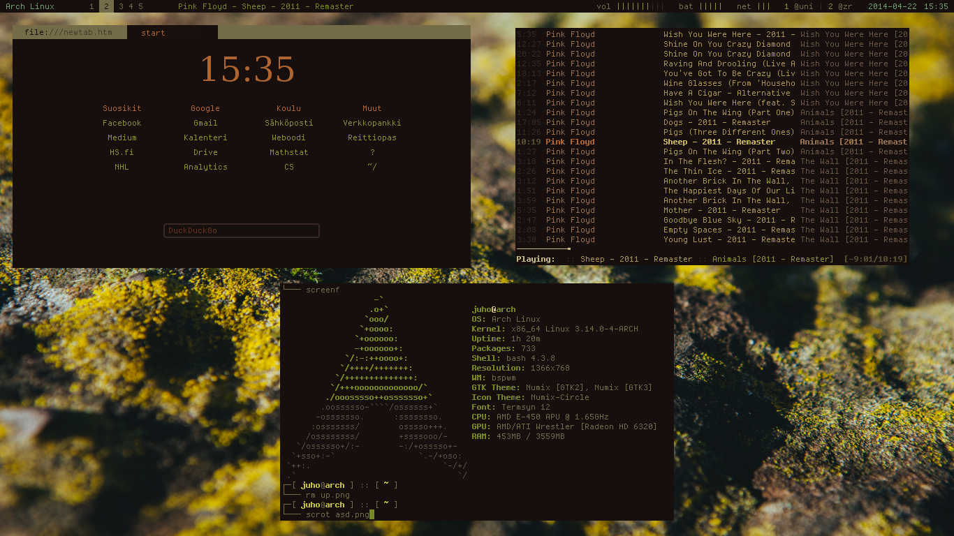 Arch][bspwm] - clean start page, great terminal color scheme