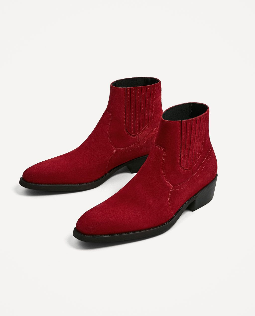 516cef1589a2d ZARA - MAN - RED LEATHER ANKLE BOOTS Botines Hombre