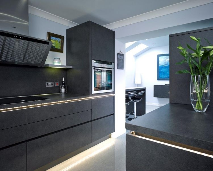 A Sleek And Stylish Handleless Kitchen Design In Tactile Lava Grey  Stone Structure From The Part 25