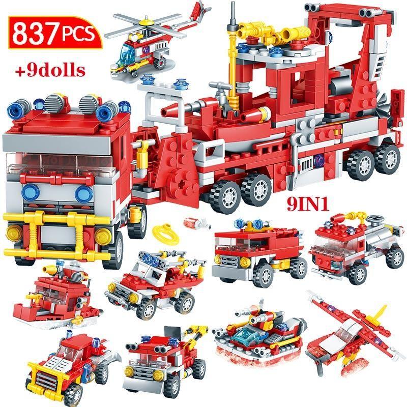 837pcs City Firefighter Figure Building Blocks Compatible