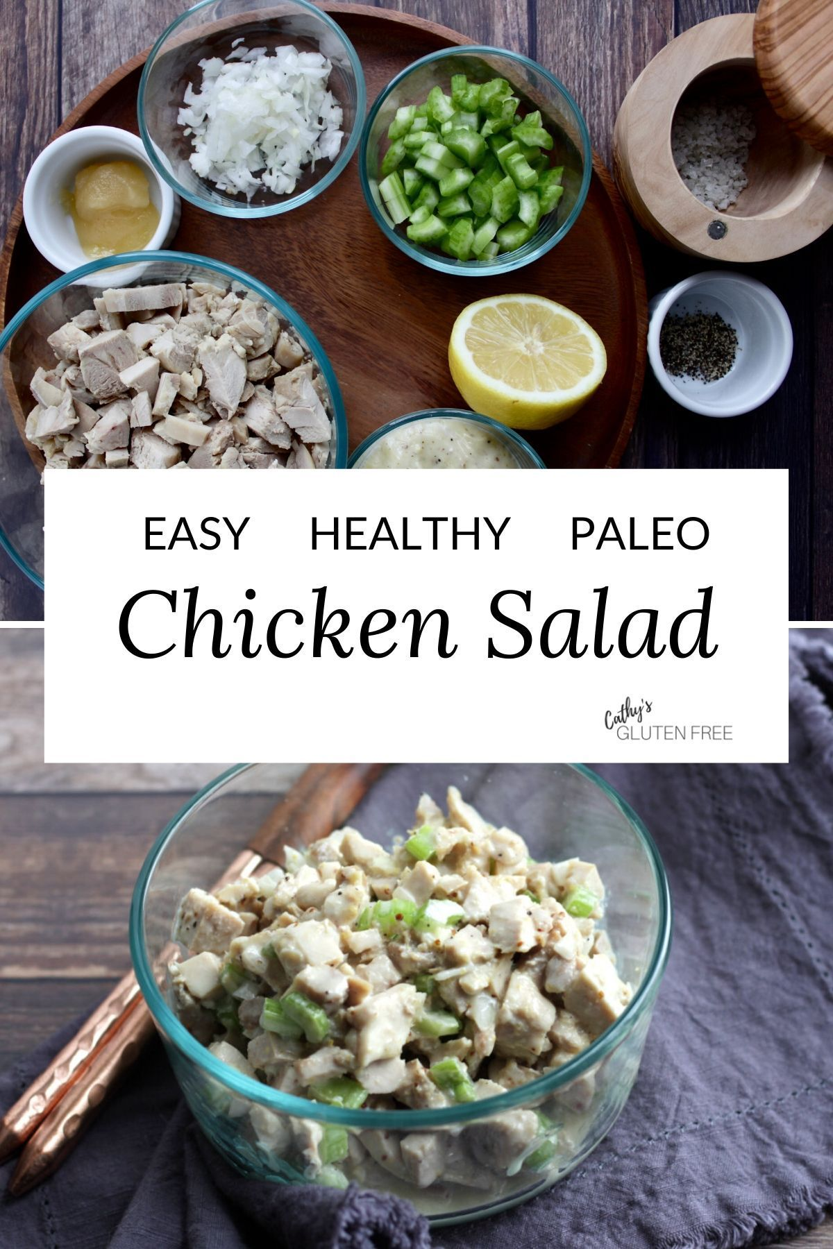 This simple Easy Chicken Salad Recipe is the best, quick, healthy way to make the classic salad with mayo. It's great for leftover, cooked chicken or turkey but can also be made with rotisserie chicken. #with mayo #simple #healthy