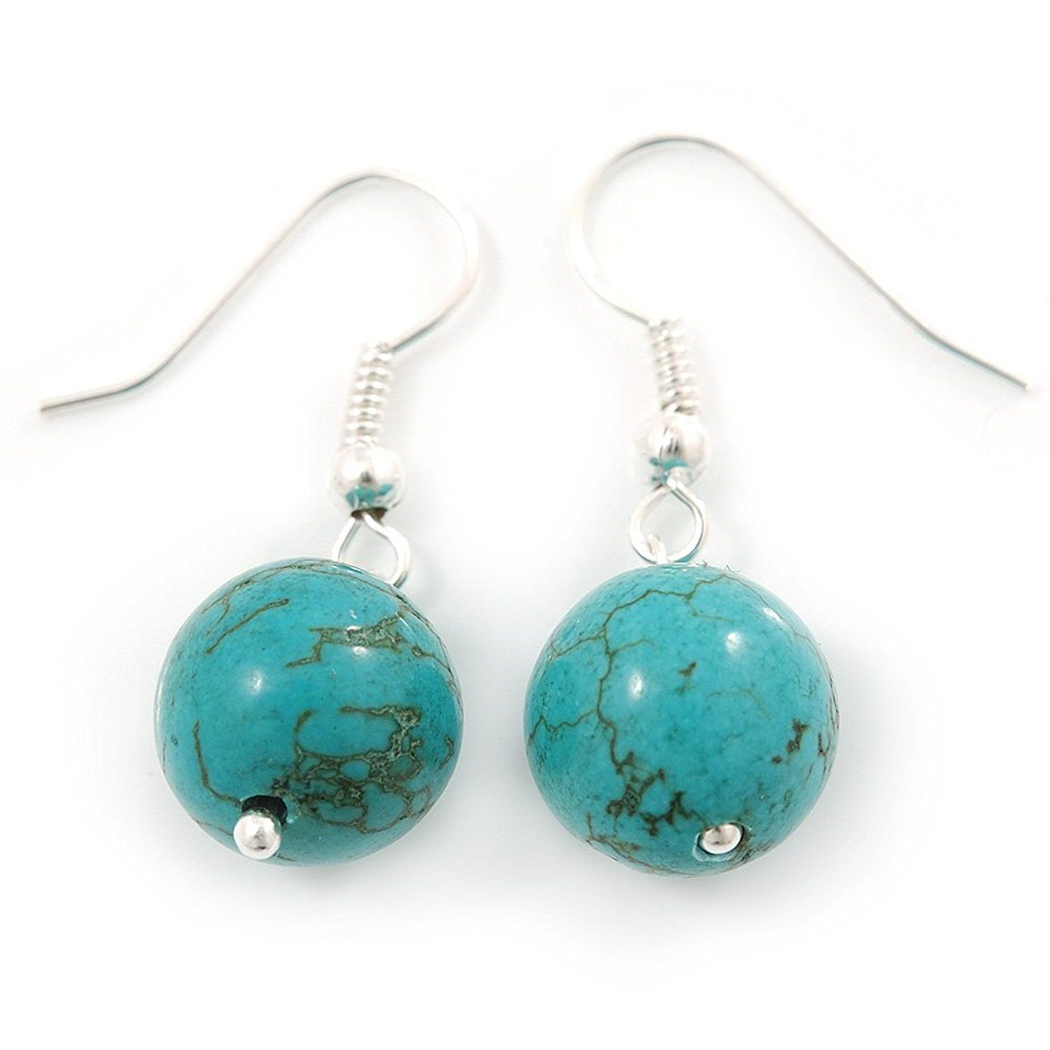 12mm Turquoise Bead Drop Earrings In Silver Tone - 30mm L y21PQ9