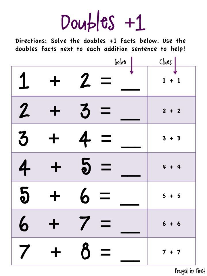 Frugal In First Math For First Graders Doubles Facts First Grade Math