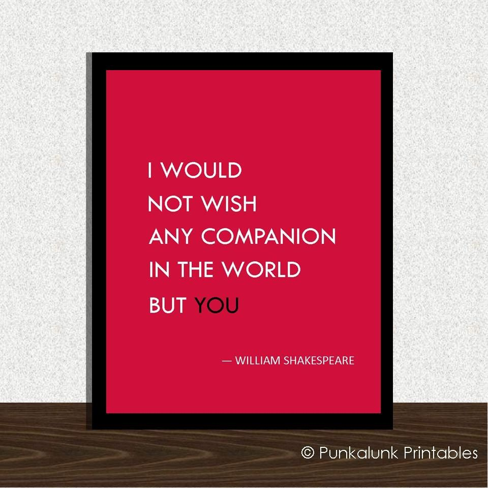 Valentines Love Quotes Shakespeare Love Quote Typography Art Print  Valentine's Day