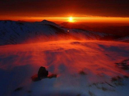 Red snow - horizon, red color, red sky, snow, sunset, wind ...