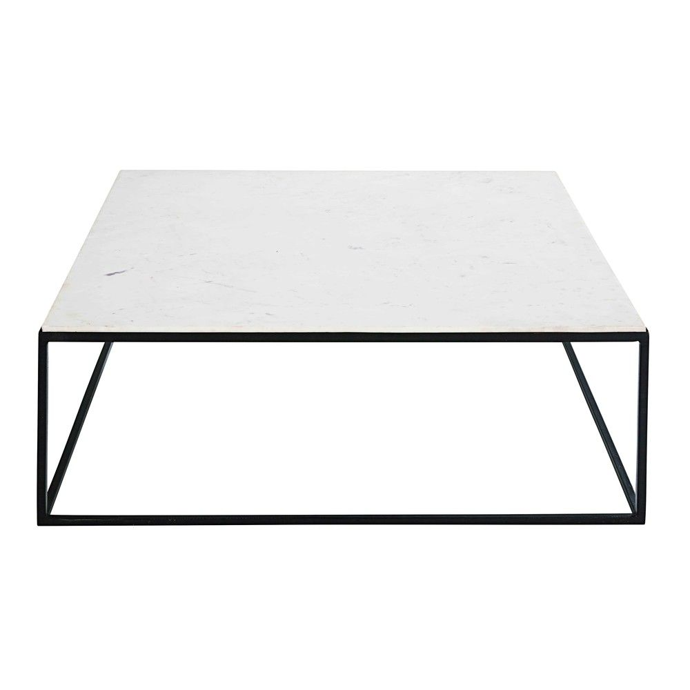 Maison Du Monde Mesa Centro Square Coffee Table In White Marble And Black Metal Modern