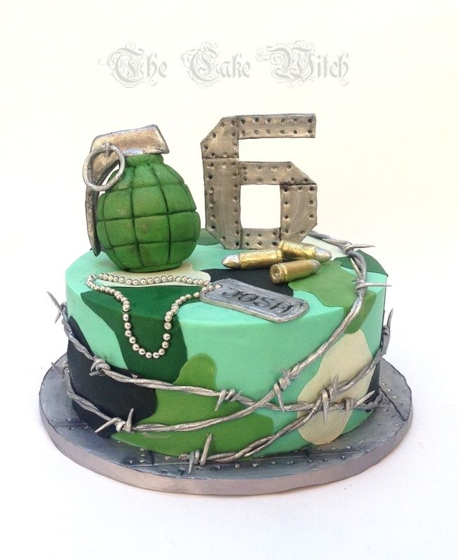 Army Cake With Ammo Granade And Barb Wire