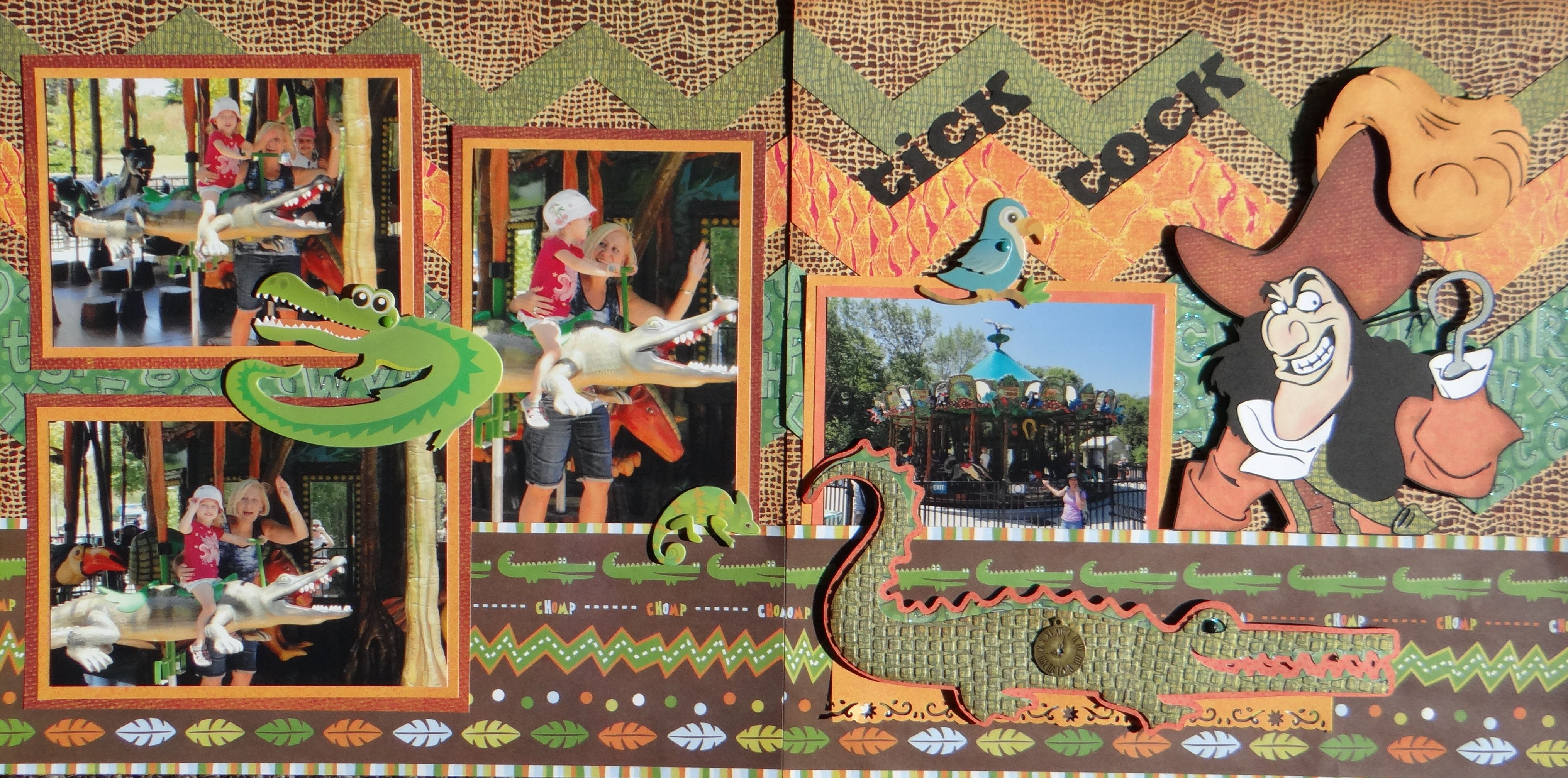 Zoo animal scrapbook ideas - Scrapbook Page At The Zoo 2 Page Animal Layout With Crocodile And Disney S Captain