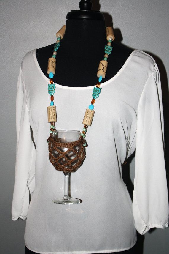 Wine Glass Necklace Wine Glass Holder Brown Wine Glass Lanyard
