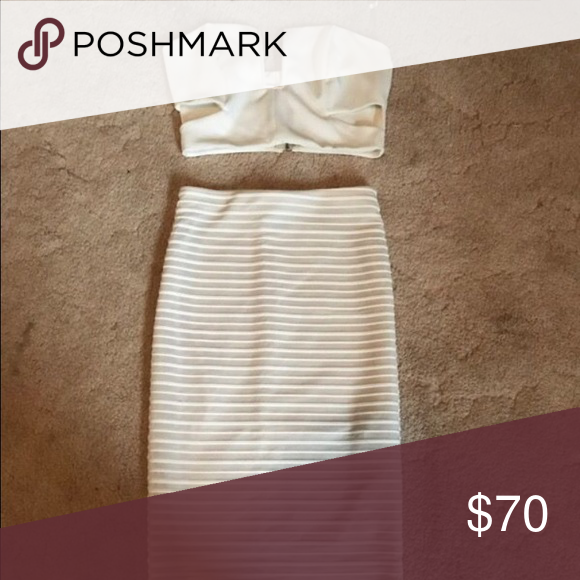 Two set. Two piece cream set. Skirt has a slight run in it but in great condition. Dresses Midi