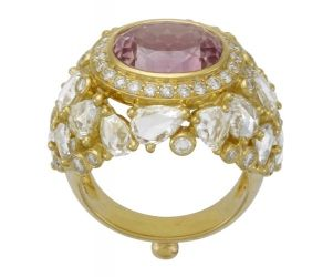 Temple St. Clair  - 18K Imperial pink topaz ring with rose cut diamonds