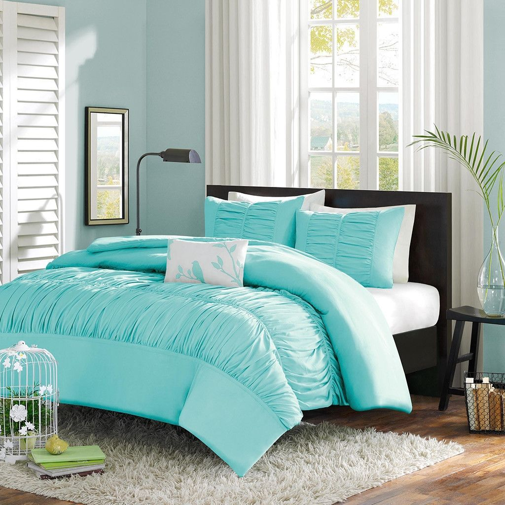 Light teal and grey bedroom - Twin Twin Xl Mint Blue Light Teal Ruched Fabric Comforter Set