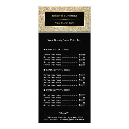 Beauty Salon Funky Gold Glitter Glamour Price List Rack Card - salon price list
