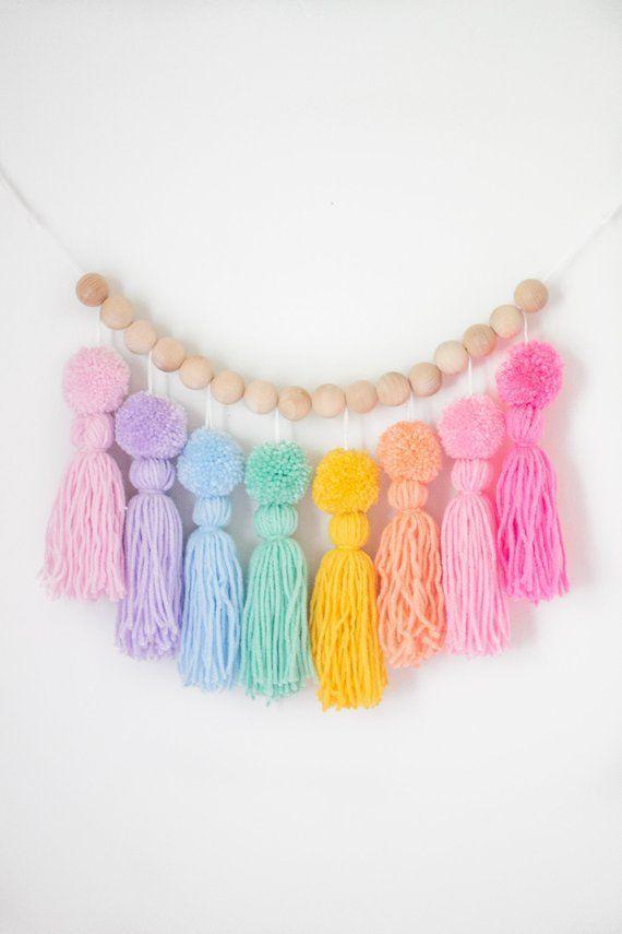 Pastel Rainbow Pom Pom Tassel Garland. Nursery and Kids Room Decor. Party Decorate ..., #babyroomboho #babyroomboy #babyroomdiy #babyroomgirl #babyroomideas #babyroomneutral #babyroomorganization #babyroomrustic #babyroomthemes #decor #decorate #garland #kids #nursery #Party #Pastel #Pom #Rainbow #room #smallbabyroom #tassel