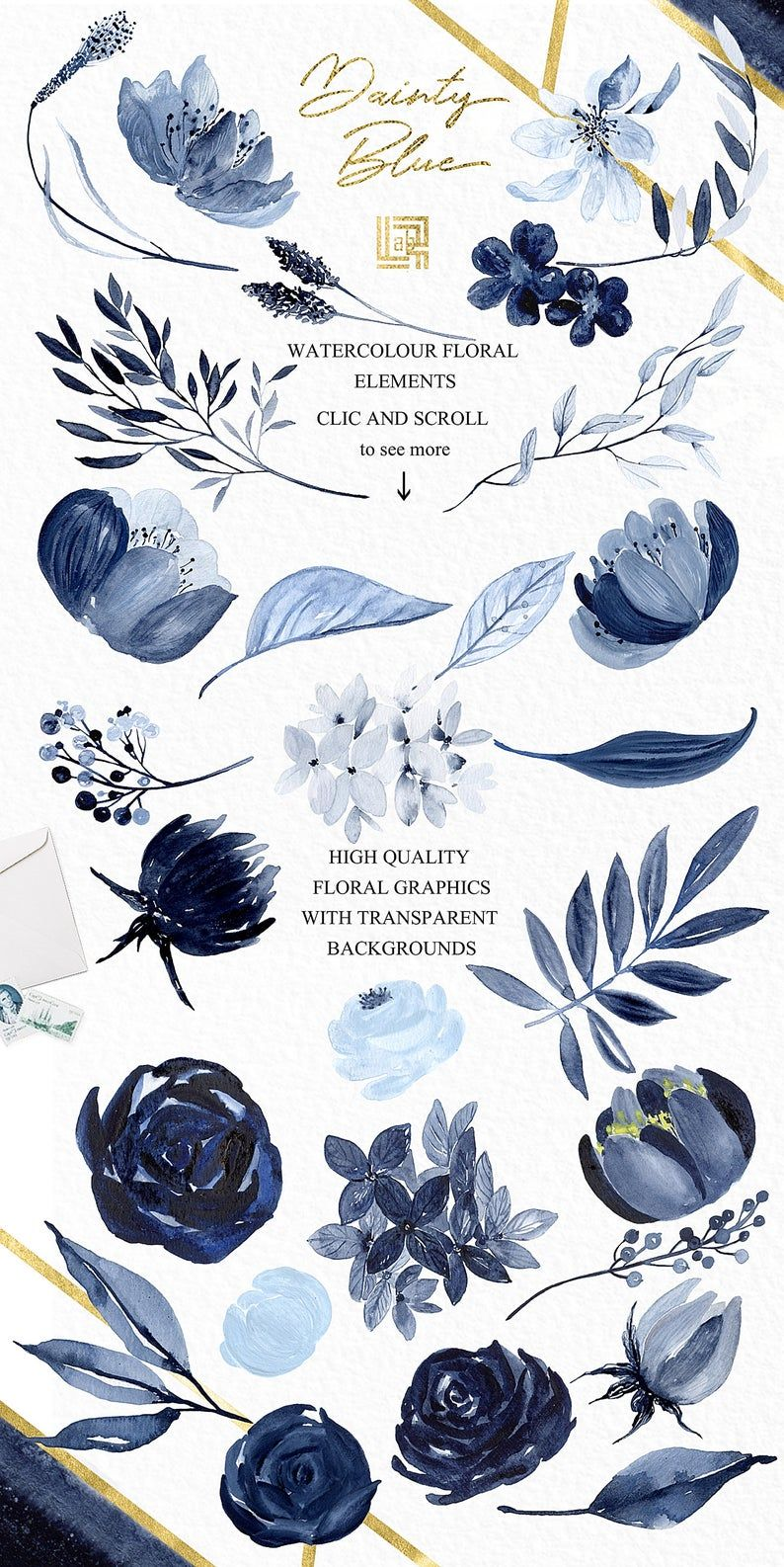 Dainty Blue Navy Blue Watercolor Flowers And Branches Etsy Watercolor Flowers Navy Blue Flowers Blue Watercolor