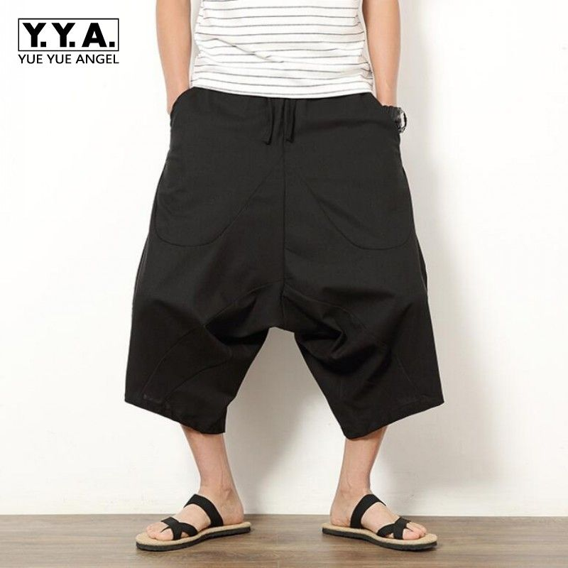 Men Casual Linen Harem Shorts Loose Trousers Fisherman Drop Crotch Pants S-5XL